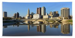 Fx1l-1058 Columbus Ohio Skyline Photo Beach Sheet
