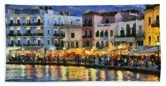 Painting Of The Old Port Of Chania Beach Towel