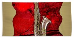 Saxophone Collection. Beach Towel by Marvin Blaine