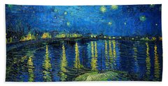 Starry Night Over The Rhone Beach Towel