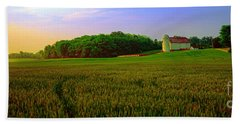 Conley Rd Spring Pasture Oaks And Barn  Beach Towel