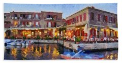 Molyvos Town In Lesvos Island Beach Sheet