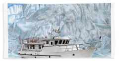 65 Foot World Cruising Yacht Beach Towel by Jack Pumphrey