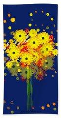 952 - Summer Flowers  Yellow ... Beach Sheet by Irmgard Schoendorf Welch
