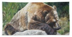 A Bear Of A Prayer Beach Sheet by Lori Brackett