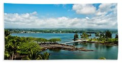 A Beautiful Day Over Hilo Bay Beach Sheet by Christopher Holmes
