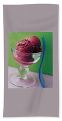 A Berry Sorbet In A Glass Cup Beach Towel