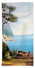 Beach Towel featuring the painting A Boat On The Beach by Lee Piper