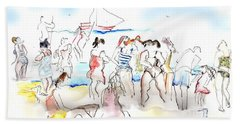 Beach Towel featuring the painting A Busy Day At The Beach by Carolyn Weltman