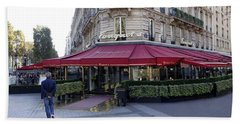 A Cafe On The Champs Elysees In Paris France Beach Towel