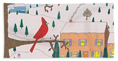 A Cardinal Christmas Beach Towel
