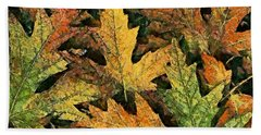 Beach Towel featuring the painting A Carpet Of  Falling Leaves by Dragica  Micki Fortuna