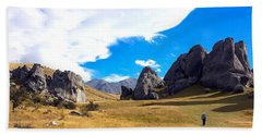 Beach Towel featuring the photograph A Castle Hill Walk by Stuart Litoff