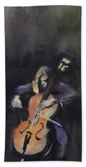 A Cellist Beach Towel by Yoshiko Mishina