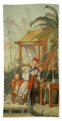 A Chinese Garden, Study For A Tapestry Cartoon, C.1742 Oil On Canvas Beach Towel