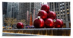 A Christmas Card From New York City - Radio City Music Hall And The Giant Red Balls Beach Sheet