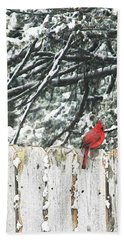 A Christmas Cardinal Beach Towel