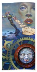 A Clockwerk Moone Is A Harsh Mistress Beach Towel by Patrick Anthony Pierson