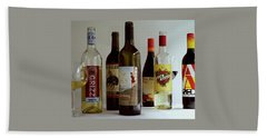A Collection Of Wine Bottles Beach Towel