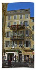 Beach Towel featuring the photograph A Corner In Nice by Allen Sheffield