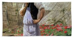 A Corner Of The Rose Garden At Bagatelle Beach Towel