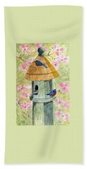 Beach Sheet featuring the painting A Cottage For Two by Angela Davies