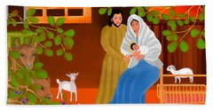 Beach Towel featuring the digital art A Cradle In Bethlehem by Latha Gokuldas Panicker