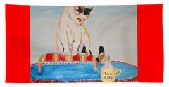 Beach Sheet featuring the painting A Cup Of Chihuahua by Phyllis Kaltenbach