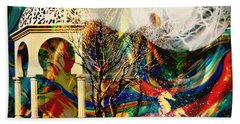 Beach Sheet featuring the mixed media A Day In The Park by Ally  White