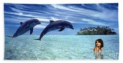 A Dolphins Tale Beach Towel