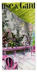 A Drawing Room With Schumacher Wallpaper Beach Towel