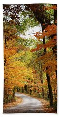 A Drive Through The Woods Beach Towel