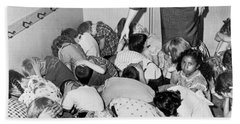 A Duck And Cover Exercise In A Kindergarten Class In 1954 Beach Towel
