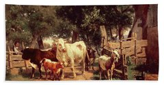 A Farmyard Scene Beach Towel