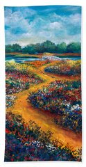 A Field Of Flowers And The Bridge Beyond Beach Towel