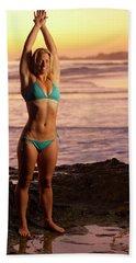A Fit Blonde Woman In A Bikini Beach Towel