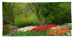 A Garden Of Tulips  Beach Towel