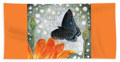 Beach Sheet featuring the painting A Garden Visitor by Angela Davies