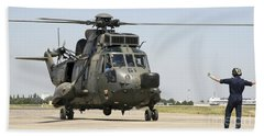 A German Navy Sea King Helicopter Beach Towel