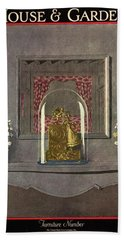A Gilded Mantle Clock In A Bell Jar Beach Towel