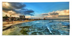 Beach Towel featuring the photograph a good morning from Hilton's beach by Ron Shoshani