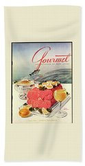 A Gourmet Cover Of Poached Salmon Beach Towel