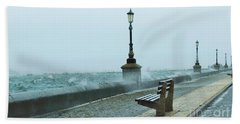 A Grey Wet Day By The Sea Beach Towel