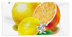 A Happy Citrus Bunch Grapefruit Lemon Orange Beach Towel by Irina Sztukowski