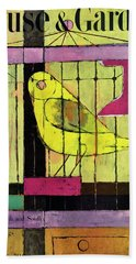 A House And Garden Cover Of A Bird In A Cage Beach Towel