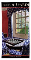 A House And Garden Cover Of A Country Living Room Beach Towel