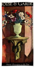 A House And Garden Cover Of A Vase Of Flowers Beach Towel