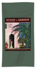 A House And Garden Cover Of A Woman In A Doorway Beach Towel
