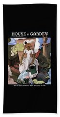 A House And Garden Cover Of A Woman Watering Beach Towel
