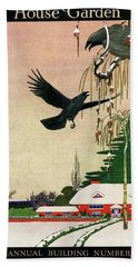A House And Garden Cover Of Crows By A House Beach Towel
